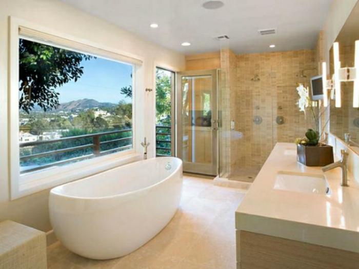 modernes bad einrichten badmöbel weiß badewanne oval
