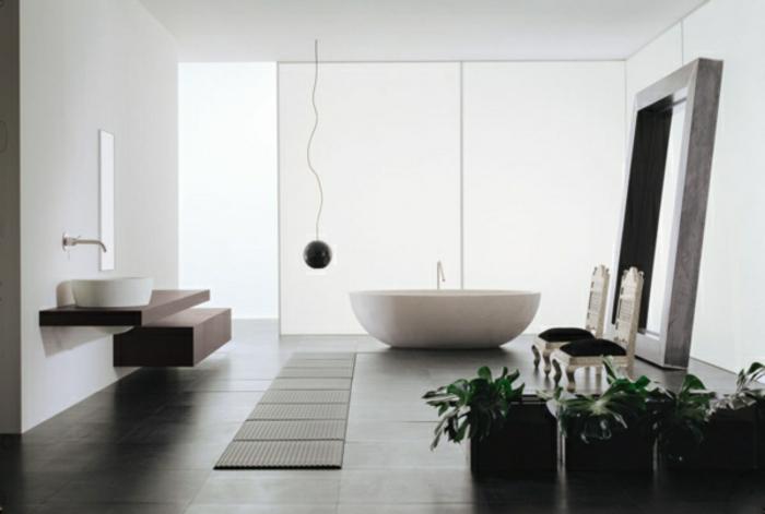modernes bad einrichten badmöbel weiß badewanne