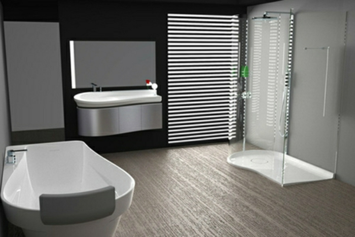 modernes bad einrichten badmöbel weiß bodengleiche dusche