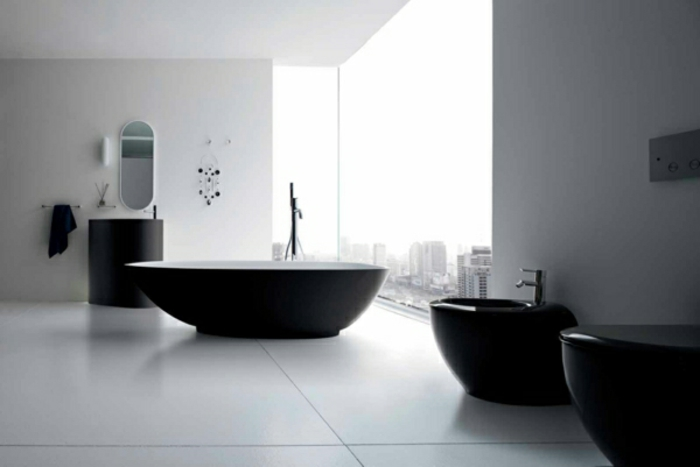 badezimmer einrichten badmöbel weiß schwarz elegant