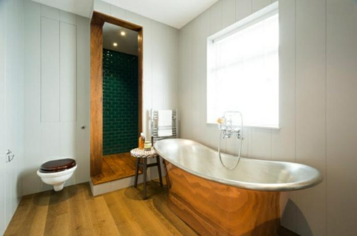 modernes bad einrichten kupfer freistehende badewanne