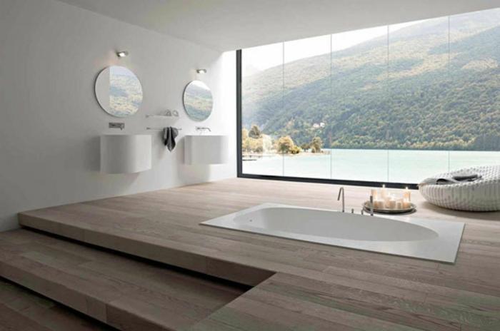 modernes badezimmer badewanne eingebaut minimalistisches design