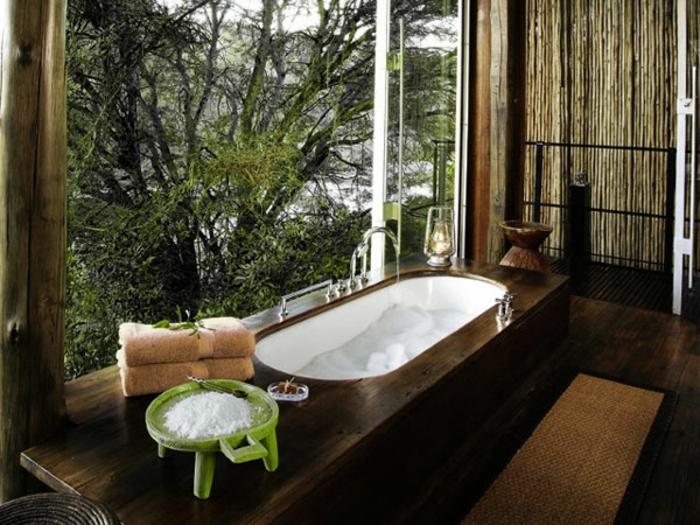 modernes badezimmer badewanne holz oval spa
