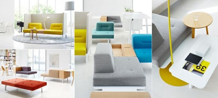 modulares sofa und designer büromöbel ergonomisch und farbenfroh