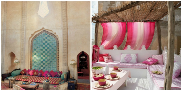 orientalische deko gestreifte textilien dekokissen