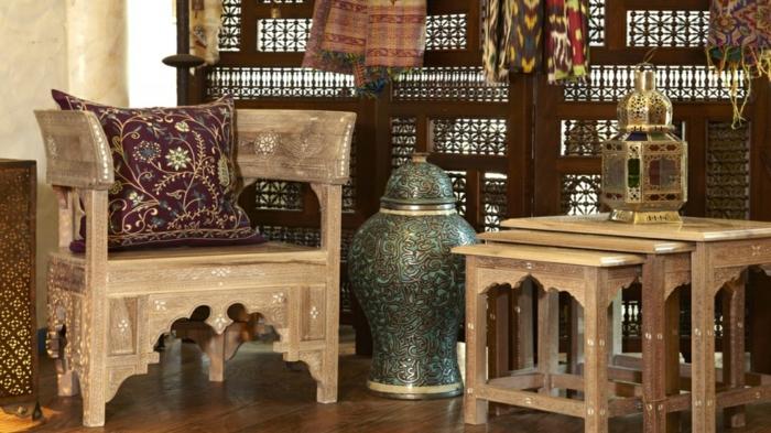 orientalische deko große vasen gemustert holzsessel