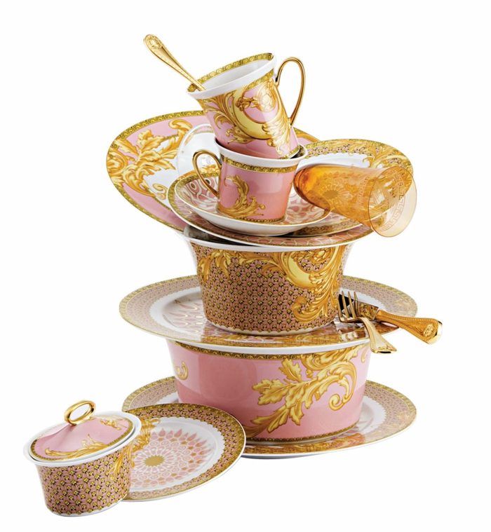 orientalische deko kaffee set porzellan ranken muster gold