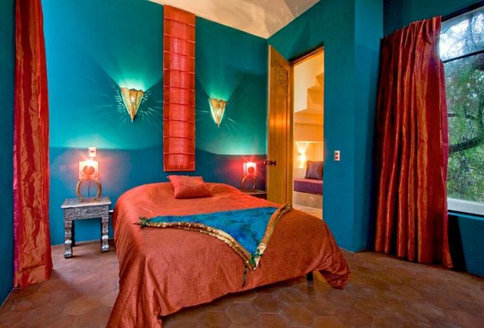 orientalische deko wandfarbe vorhänge kräftige farben