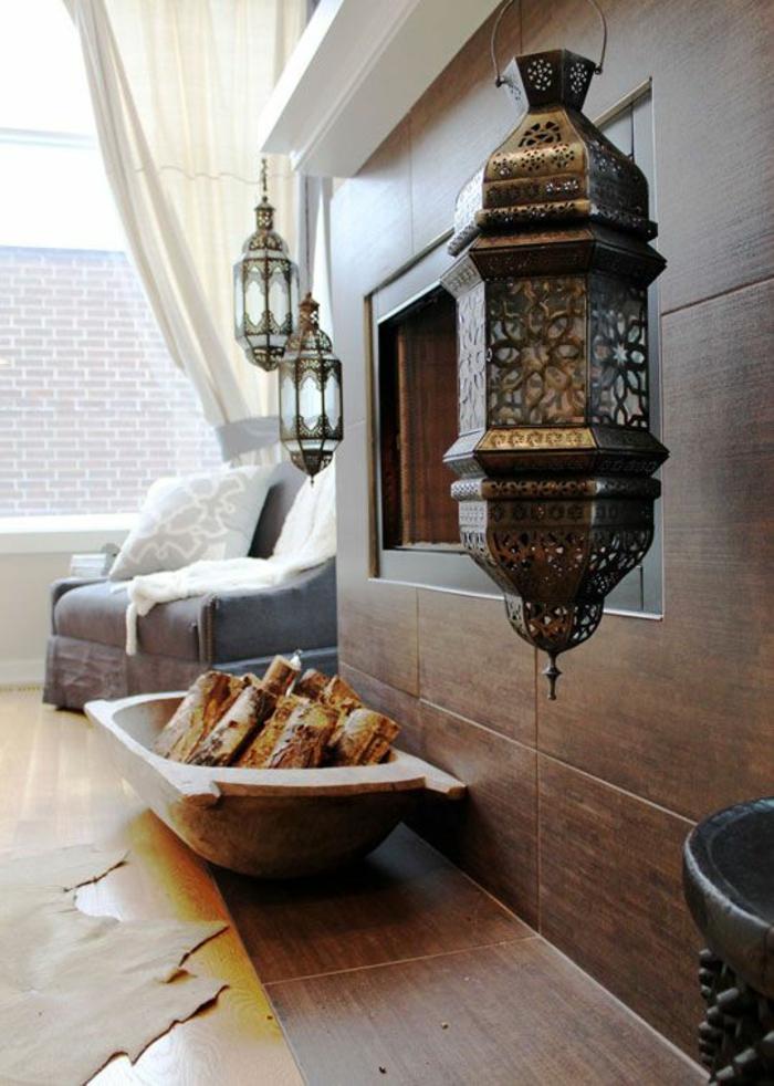 orientalische lampen laternen aus marokko wohnzimmer kamin