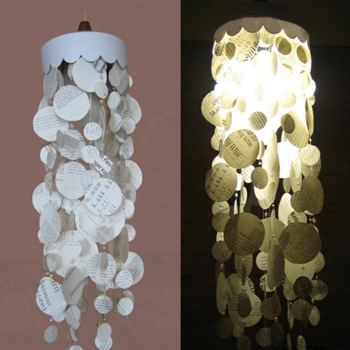 papierlampen hängelampe diy kreativ alte bücher zeitungen