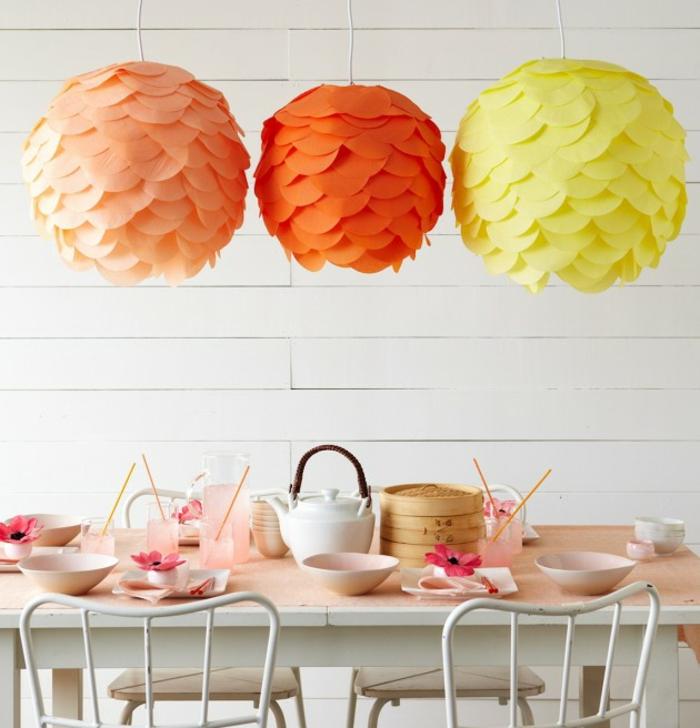 papierlampen hängelampe diy schuppen orange gelb