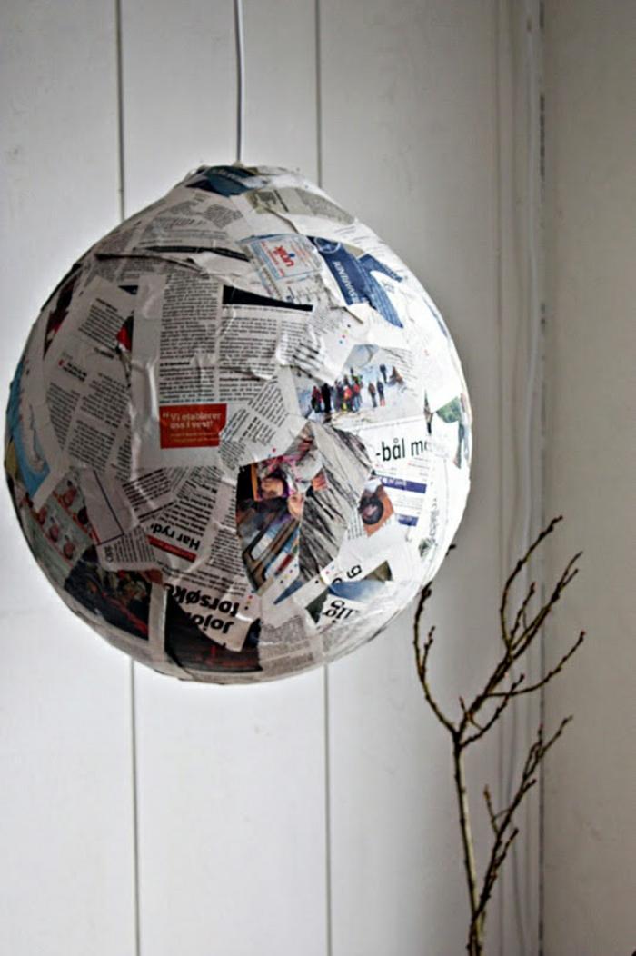 papierlampen hängelampe pendelleuchte zeitungscollage rund