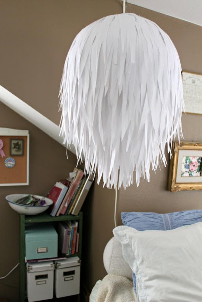 papierleuchten hängelampe weiße franzen papier