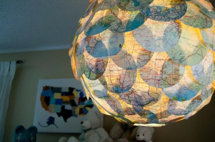 papierlampen pendelleuchte rund collage globus