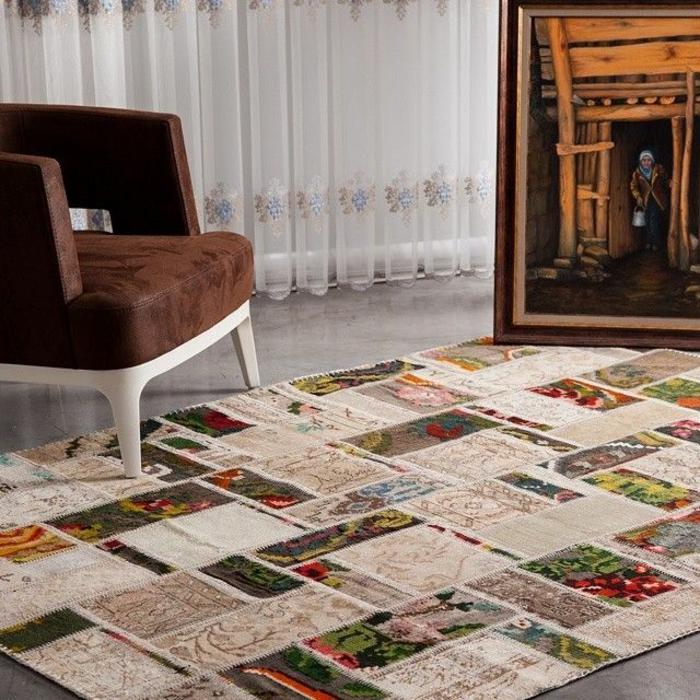 patchwork teppich bunte stücke zusammennähen wohnzimmer möbel