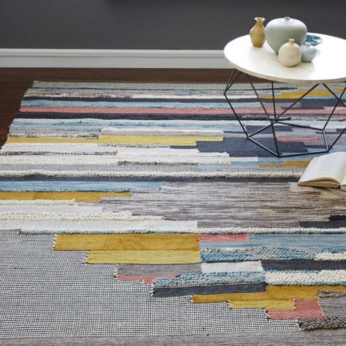 patchwork teppich bunte streifen läufer wohnzimmer bodenbelag