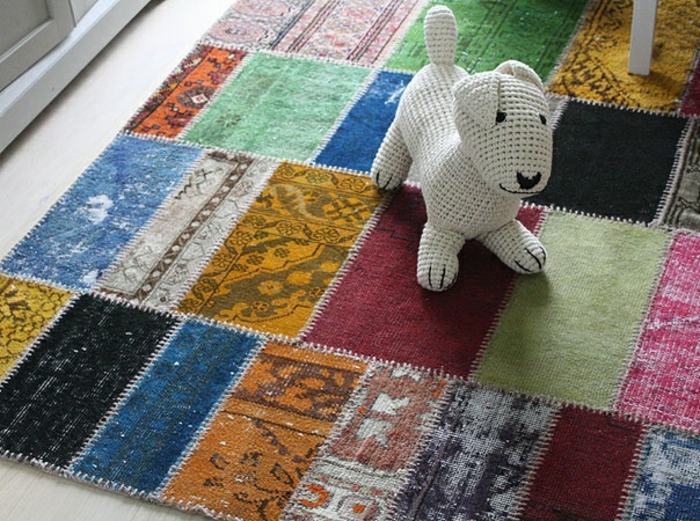 patchwork teppich und läufer bunte stücke