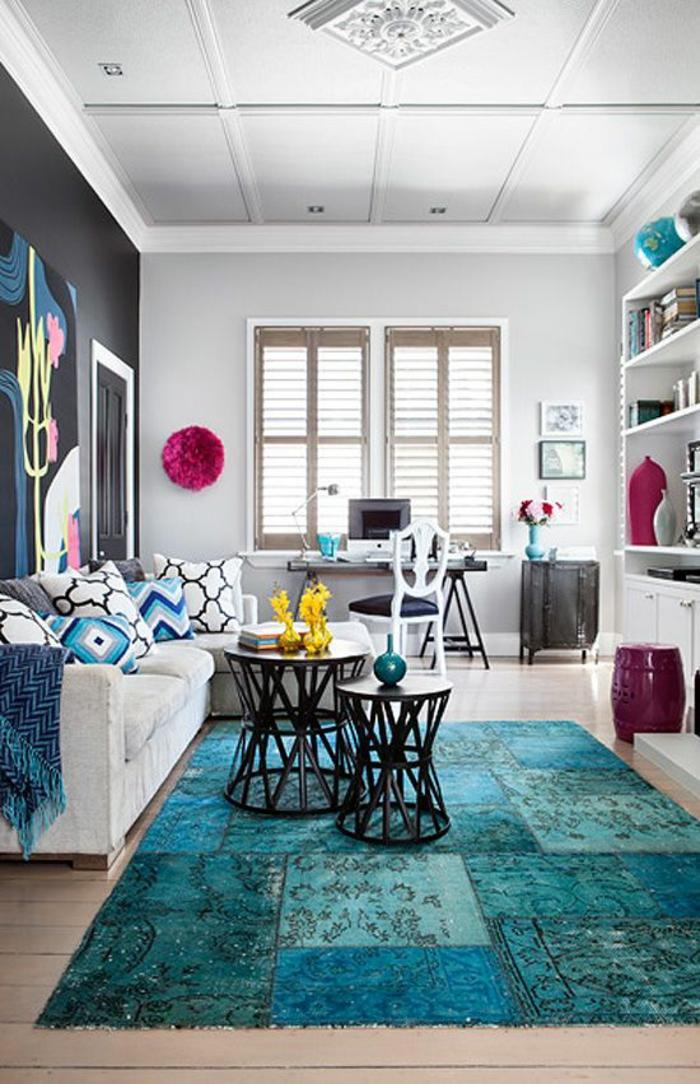 Wohnzimmer Teppich Blau ? Dumss.com Blauer Teppich Wohnzimmer