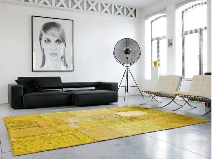 patchwork teppich wohnzimmer bodenbelag gelb