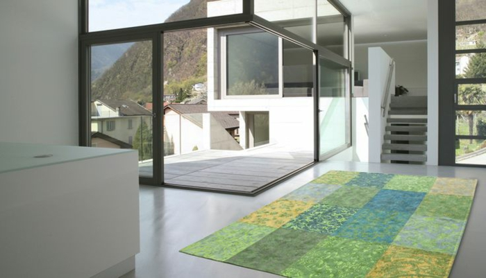 patchwork teppich wohnzimmer bodenbelag grün