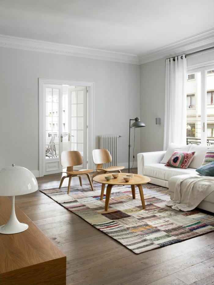 patchwork teppich wohnzimmer bodenbelag kunterbunt