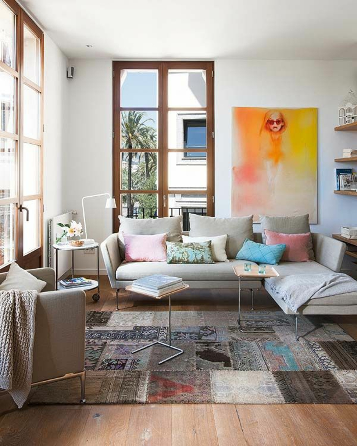 patchwork teppich wohnzimmer bodenbelag verschiedene muster