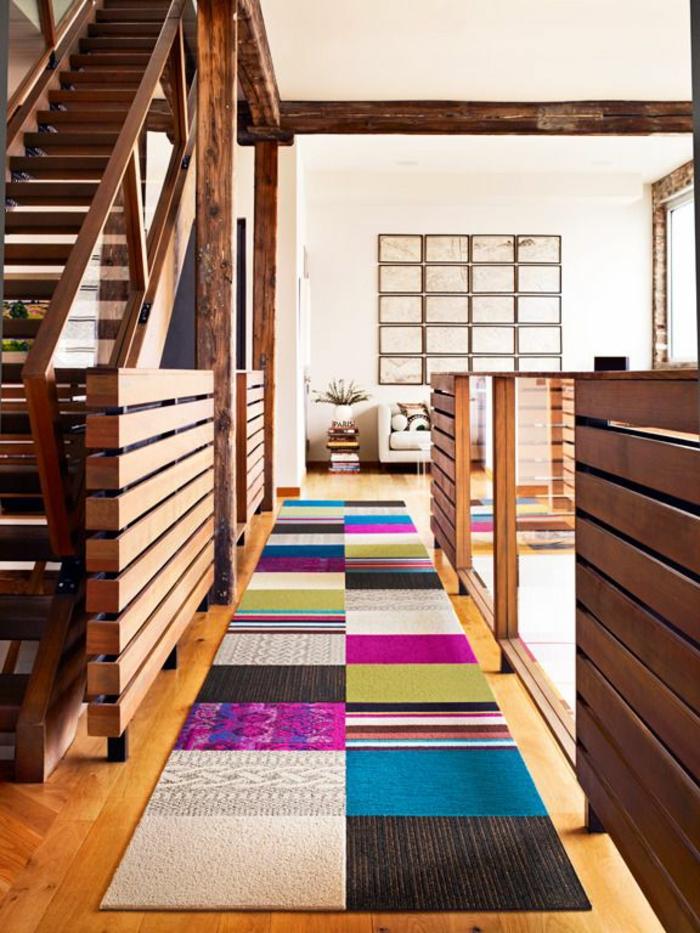 patchwork teppich wohnzimmer holzboden läufer