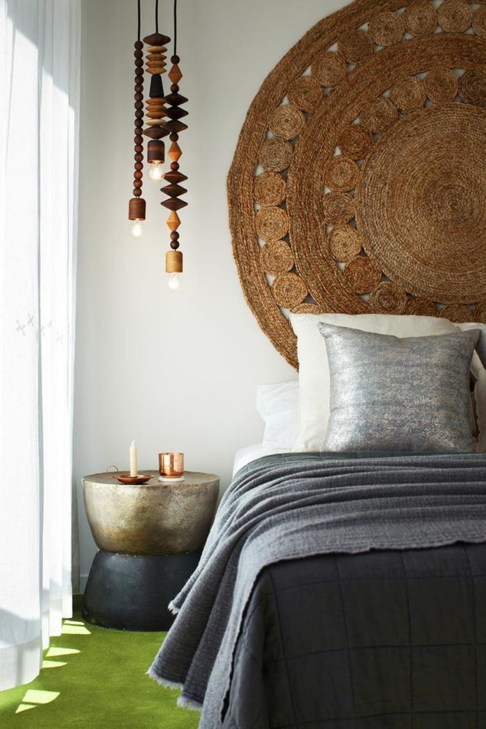 pendelleuchte ausgefallene lampen cooler beistelltisch schlafzimmer einrichten