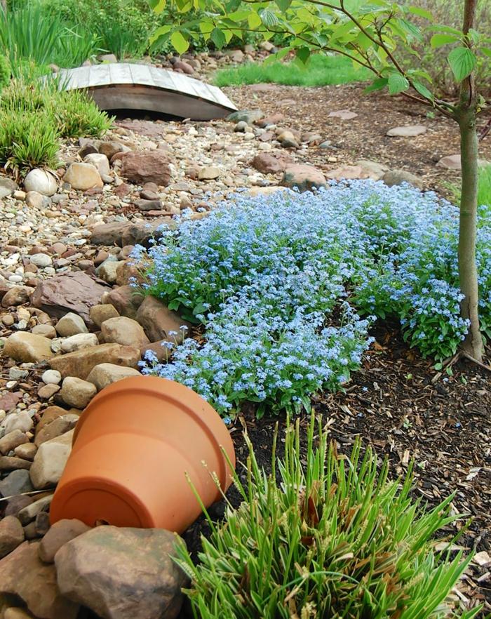 pflanzkübel keramik blumentopf blaue zierliche blumen