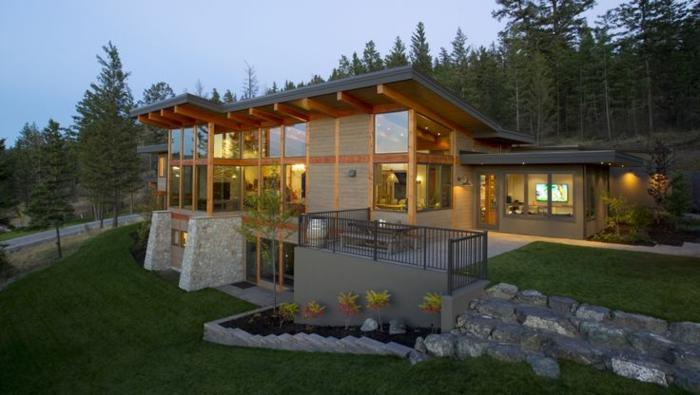 pult dach modern holz deckenbalken geneigte dachfläche