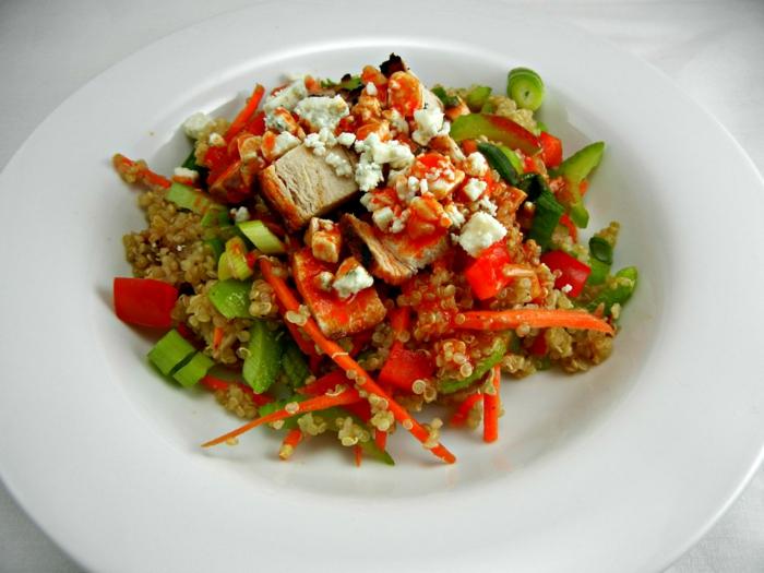 quinoa rezepte rindfleisch paprika frühlingszwiebel salat