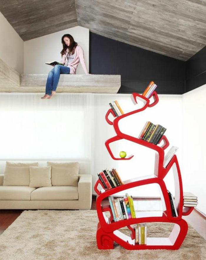 regalsysteme ausgefallenes design rot wohnzimmer