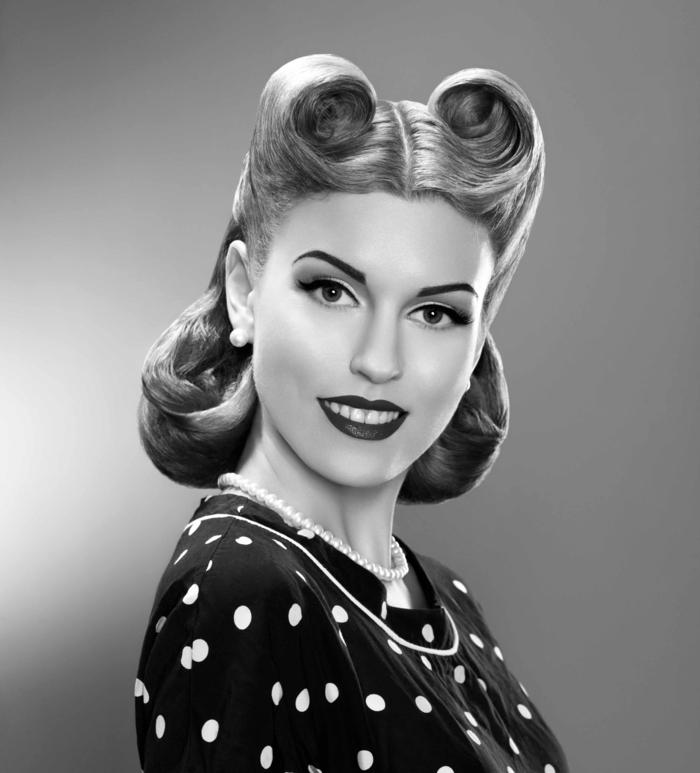 rockabilly frisuren frauen retro look polka dot kleid vintage victory rolls