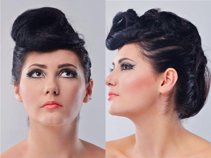 rockabilly frisur retro look schwarze haare hochgesteckt