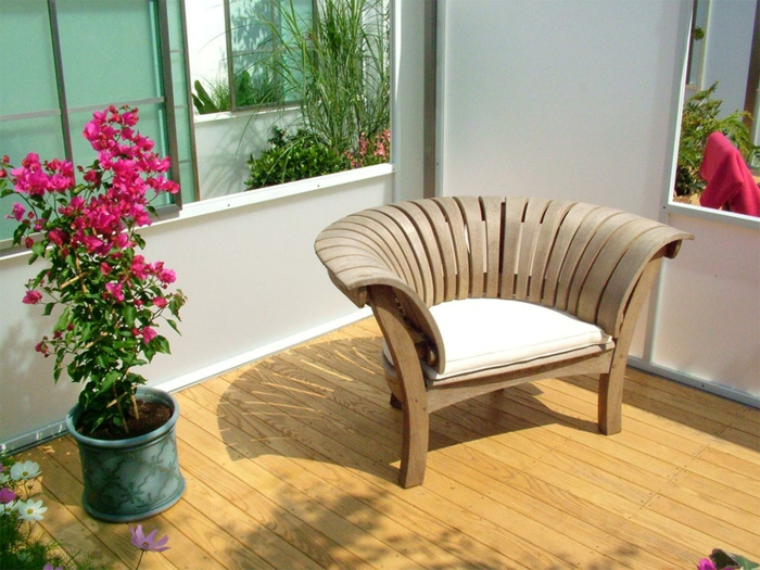 rustikale gartenmöbel set holz eleganter holzsessel