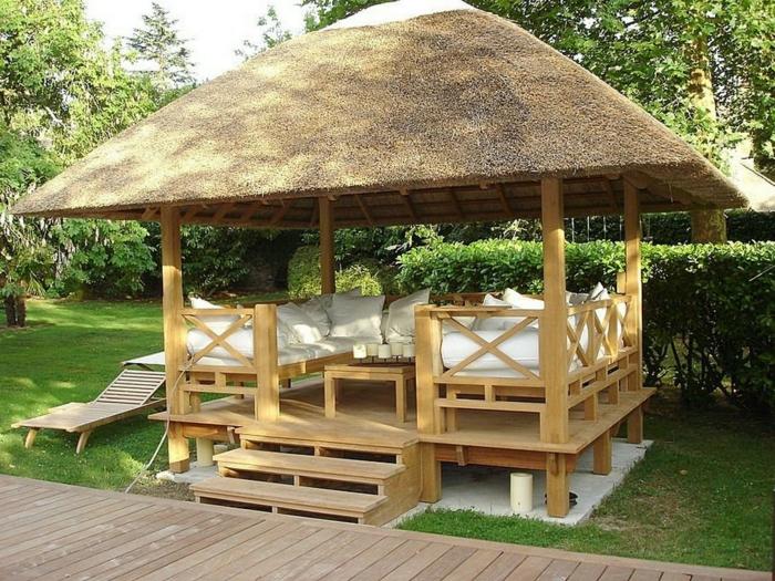 rustikale gartenmöbel set holz holzpergola lounge möbel design