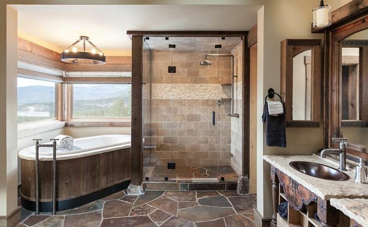rustikale möbel badmöbel echtholz badewanne landhausstil