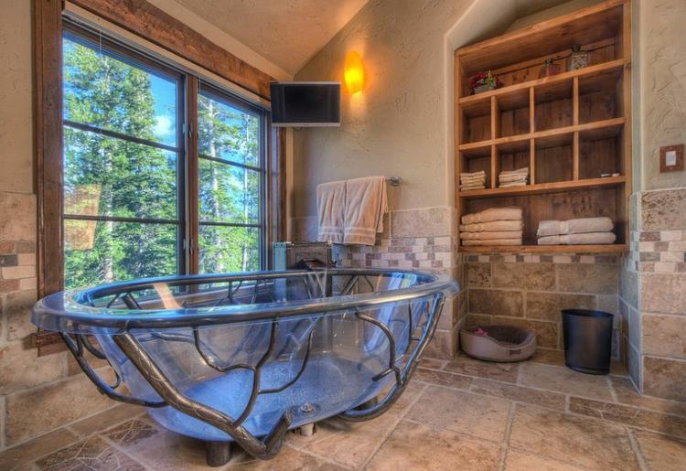 rustikale möbel badmöbel holz badewanne glas