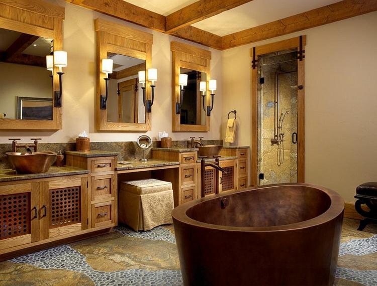 rustikale badmöbel aus messing und stein