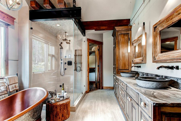 rustikale möbel badmöbel landhaus duschkabine glas
