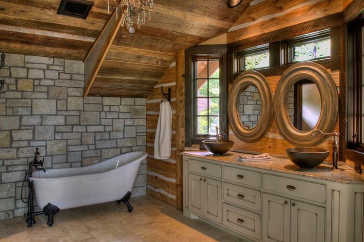 rustikale möbel badmöbel landhaus steinwand