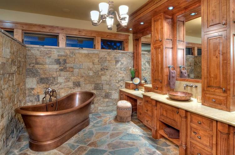 rustikale möbel badmöbel landhausstil badewanne kupferfarbe