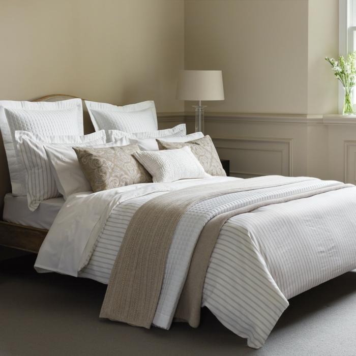 schöne bettwäsche schlafzimmer schlicht stilvoll