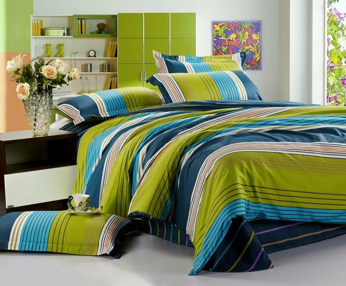 schöne bettwäsche streifen muster frisch schlafzimmer blumen