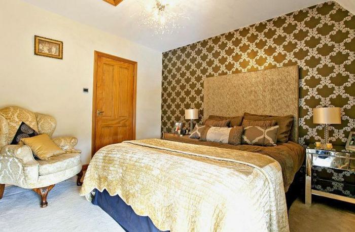 Schflafzimmer Dekorieren Stilvolle Wandtapete Elegante Möbel