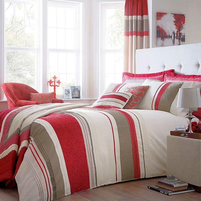 schlafzimmer dekorieren bettwäsche streifen frisches muster