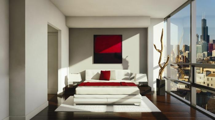 schlafzimmer dekorieren rote akzente weiße möbel