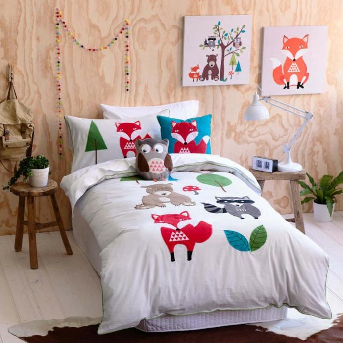 schlafzimmer dekorieren schöne bettwäsche kinderzimmer tiere
