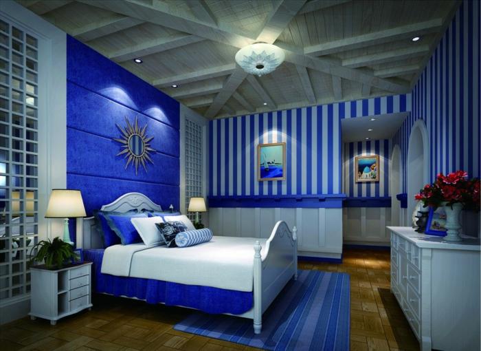 schlafzimmer dekorieren teppich wandtapete streifen wanddeko pflanzen