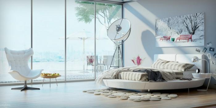 schlafzimmer einrichten ausgefallenes bett panoramafenster sessel
